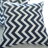 Decorative Navy and white chevron 18 x 18 pillow cover