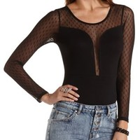 Dotted Swiss Yoke Plunging Bodysuit by Charlotte Russe - Black