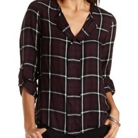 Plaid Flannel Pullover by Charlotte Russe - Burgundy Cmb