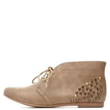 Qupid Spiked Lace-Up Ankle Booties by Charlotte Russe - Taupe