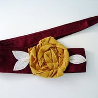 Maroon with Gold rosette headband, head wrap, Texas State colors, Bobcats, BHS North, Arizona State, Minnesota