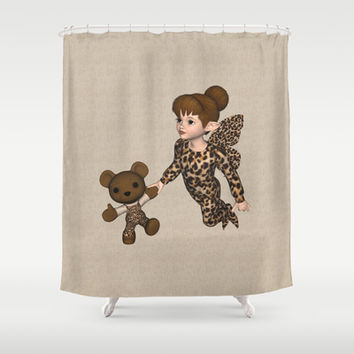 Little Girl Fairy Baby Bear Shower Curtain by Apgme