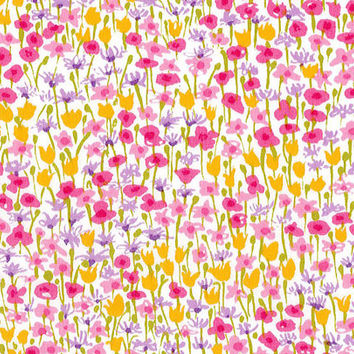 Liberty Tana Lawn Fabric - Liberty Japan - Cotton Print Scrap, Alice Loveday - Natural Floral Design, Pink - Quilt, Patchwork - NT15SS22