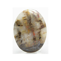 White Quartzite with included minerals Calibrated Stone Flat Back Cabochon 40x30 mm Loose Unset Semi precious Jewel