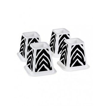 The Macbeth Collection Zebra Printed Bed Risers