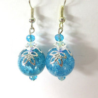 Crackle Glass Earrings with pink or blue crystals and Swarovski Elements crystal spacers