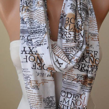 New - Infinty Scarf - Circle Scarf  -  Loop Scarf - White - Written Scarf - Cotton Jersey
