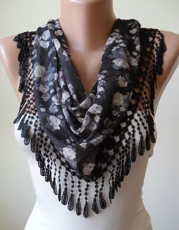 Autumn Design - Black and Grey Flowered Scarf with Black Trim Edge