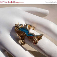 SALE Vintage Gold Unicorn Ring Turquoise Size 6.5