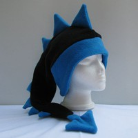 Fleece Dragon Hat - Black / Blue by Ningen Headwear on Etsy