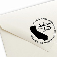 Custom State Return Address Pre-Inked Stamp  - 9 Ink Colors Available