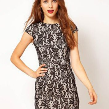 A Wear Contrast Lace Pencil Dress at asos.com
