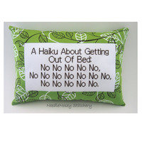 Funny Cross Stitch Pillow, Funny Quote, Green and Brown Pillow, Haiku