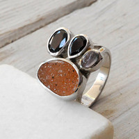 Ring - Agate Garnet and Rose Quartz Silver Ring
