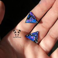Galaxy triangle earrings