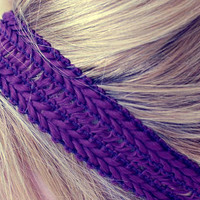 Purple Woven Stretchy Headband - Comfortable Casual Hair Accessory