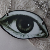 1- All Seeing Eye Necklace Large Wooden Eye Shaped Evil Eye Pendant on Chain Gatsby Eye Mens and Womens Long Necklace