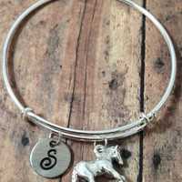 Horse charm bracelet - expandable bracelet, equestrian jewelry, silver horse charm, personalized bracelet, hand stamped jewelry