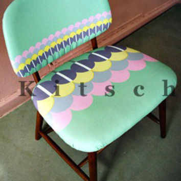 Pastel Fabric Upholstered Armchair-Retro Inspired. 1950s Scandinavian Reproduction(AC002)