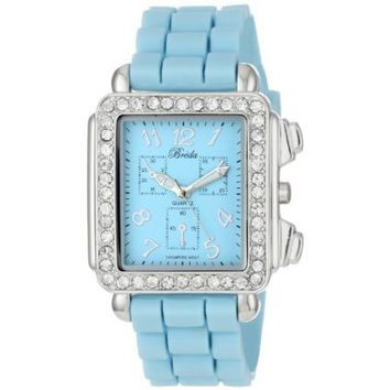 "Breda Women's 2298-aqua ""Quinn"" Rhinestone Encrusted Rectangle Bezel Silicone Watch - designer shoes, handbags, jewelry, watches, and fashion accessories 