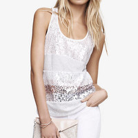 LACE SEQUIN STRIPED TANK from EXPRESS