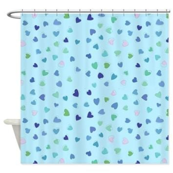 Blue Hearts Shower Curtain> Love, Romance, Hearts> Strawberry and Hearts