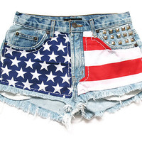 American flag high waisted Levi shorts M