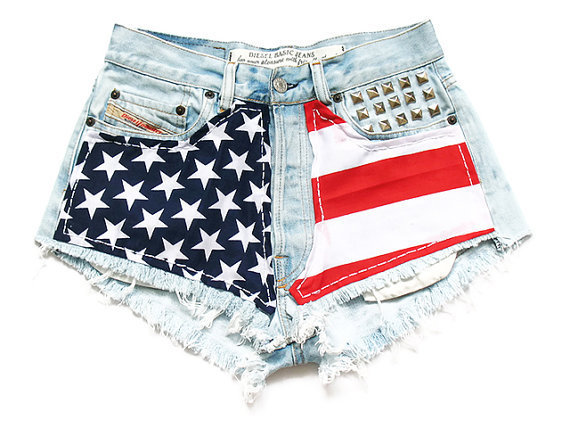 American flag high waisted shorts M