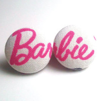 Barbie Pink And White Button Earrin.. on Luulla