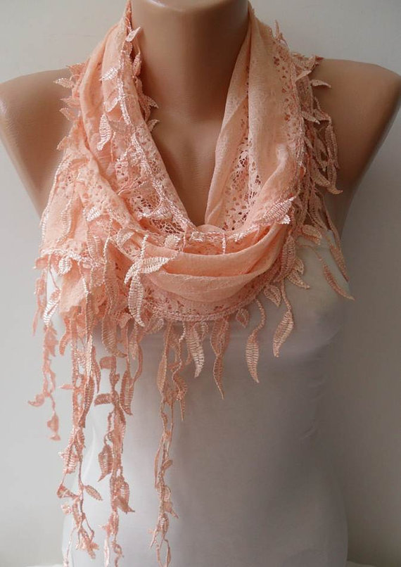 Soft Lace Scarf - Lace Scarf in Light Salmon with Salmon Trim Edge