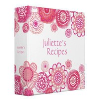 Pretty in Pink Blossoms Recipe Book Binder from Zazzle.com