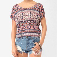 Lace Bow Southwest Print Top