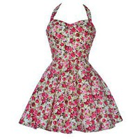 Style Icon's Closet 50s style Vintage Inspired Pin-Up African Print Retro Rockabilly Clothing — Vintage Style Rose Print Party Dress