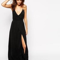 ASOS | ASOS Satin Split Front Maxi Slip at ASOS