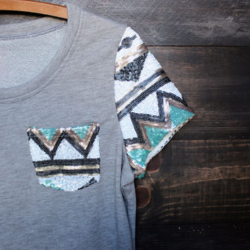 it girl aztec sequin pocket short sleeves french terry t shirt grey