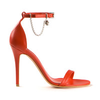 ALEXANDER MCQUEEN SKULL CHAIN SANDALS IN RED LEATHER