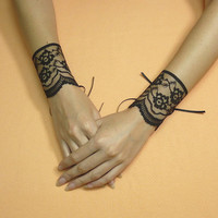 Black Lace Cuffs, Romantic Goth Wristlets with Corset Closure, Neo Victorian Gauntelts, Tribal Belly Dance, Cabaret