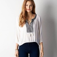 AEO EMBROIDERED GAUZE PEASANT TOP