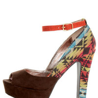 Pink & Pepper Leilla Brown Multi Southwest Print Platform Heels - $49.00