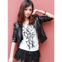 Short Black Leather Jacket Women Autumn Outfit Women Clothes@XVR921b