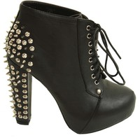 ILWF Black With Silver Spiked Heel Shoe Boots - Love