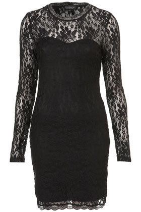 Lace High Neck Bodycon Dress - Going Out Dresses - Dresses  - Apparel