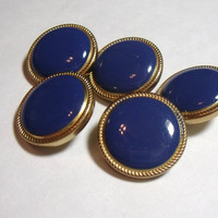 Vintage Buttons Blue and Gold set of 5 destash sewing supply