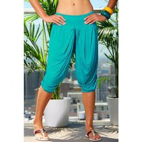 turquoise gathered harem pants