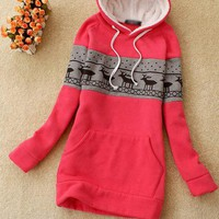 Red Deer Pullover Hooded Sweatshirt$38.00