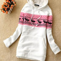White Deer Pullover Hooded Sweatshirt$38.00