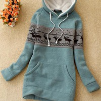 Green Deer Pullover Hooded Sweatshirt$38.00