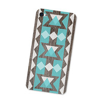 Wood Geometric Iphone Skin 4S: Gadget Sticker Cover for Iphone 4 - Southwest Triangle Geometric Tribal in Turquoise Brown &amp; White Boho