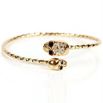 Gold Skull Twisted Cuff Bracelet