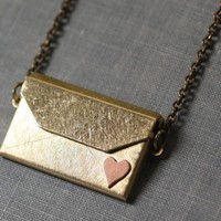 Envelope locket I love you necklace brass by mylavaliere